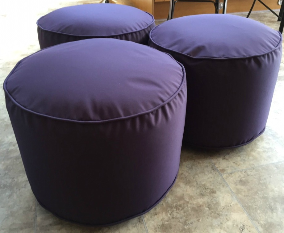 Funky waterproof garden purple poufs by Mary Goulding